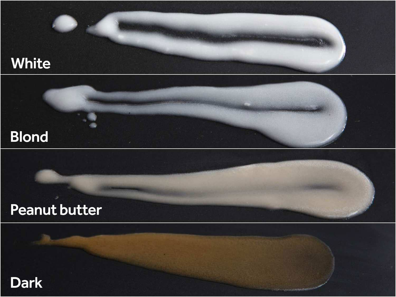 This photo of roux samples demonstrates how the thickening power of flour decreases as its toasting level increases