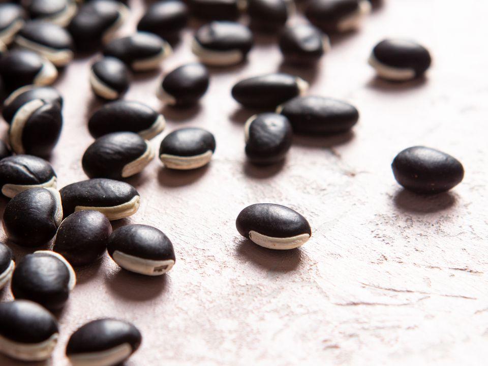 Close-up of njahi (Kenyan Black Beans)
