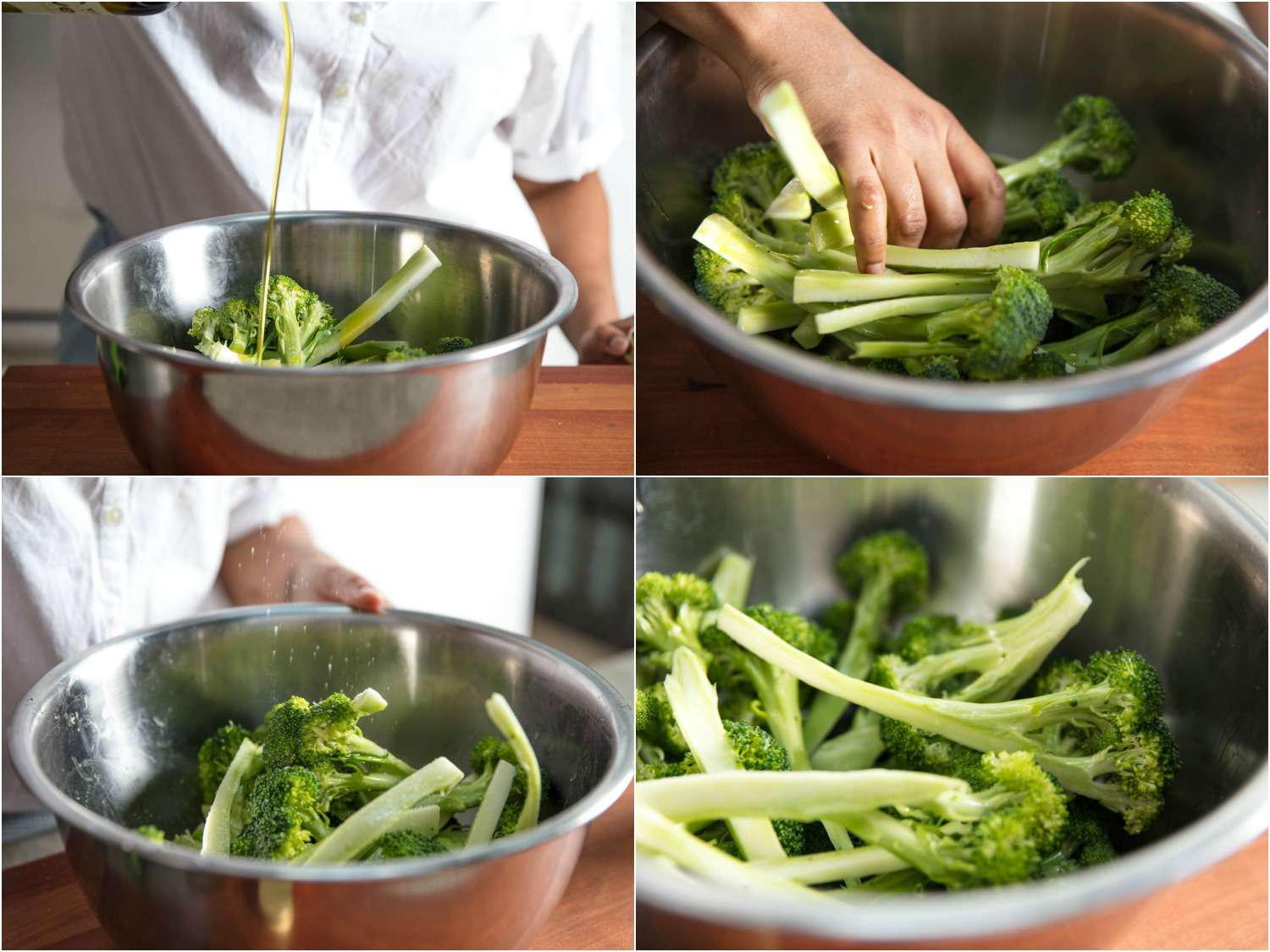 Collage of prepping broccoli for broiling: pouring olive oil into a bowl with broccoli florets, mixing with hands, finished bowl of coated broccoli