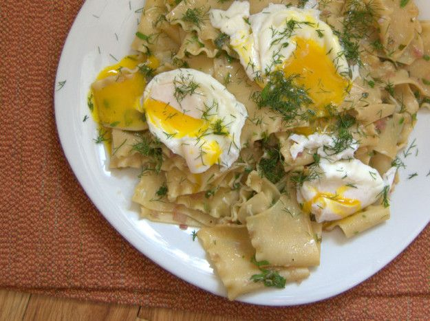 A plate of Torn Pasta Sheets With Brown Butter, Herbs, and Poached Eggs.
