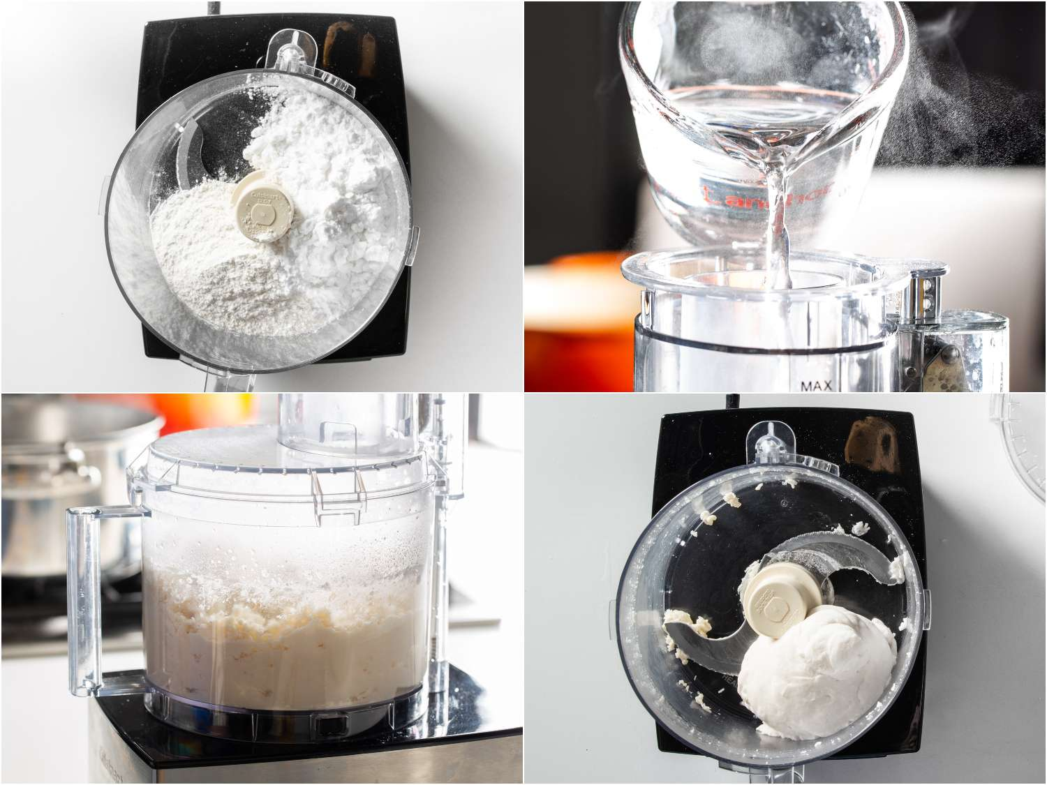 Preparing the dough for noodles by adding pastry flour, potato starch, and salt to a food processor, then adding boiling water while the processor is running until the dough forms