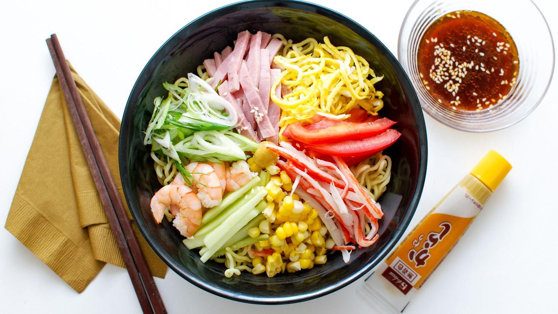 Hiyashi Chuka (Cold Ramen) With Shrimp, Ham, and Vegetables Recipe