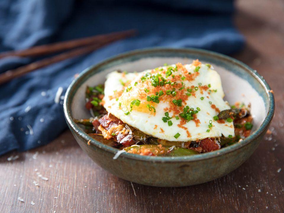 fried egg, kimchi, spam, and asparagus