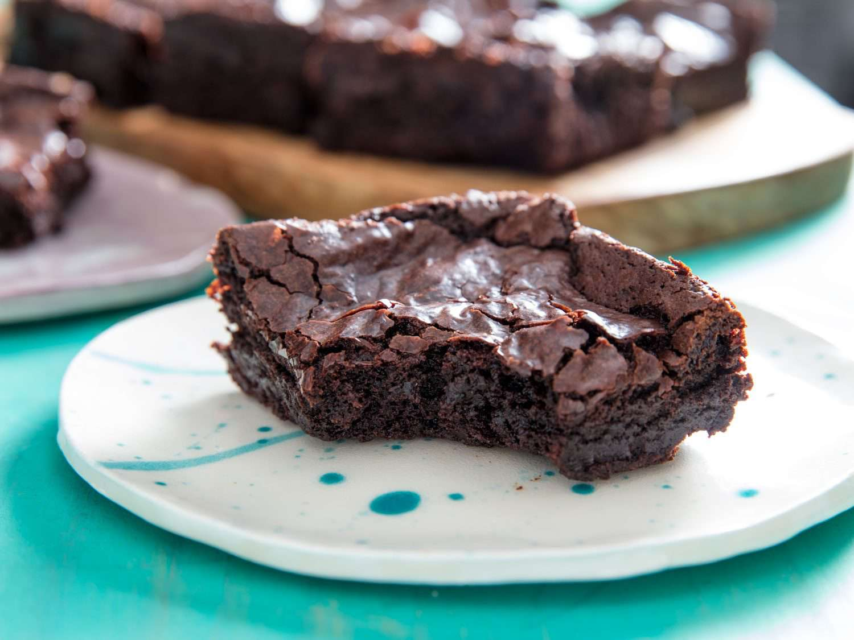 bite of vegan brownie