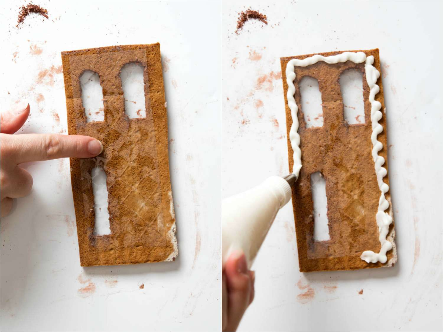 Collage of photos of attaching sheet gelatin to a gingerbread wall, using royal icing, to make windows