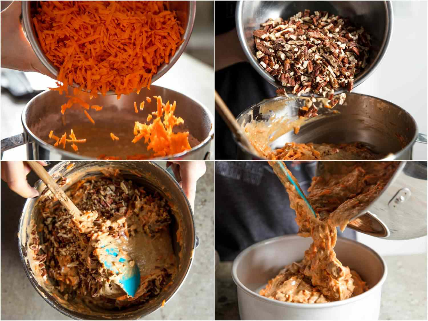 Collage of photos of making carrot cake: adding shredded carrots to batter, adding toasted pecans to batter, mixing with a flexible spatula, transferring to a cake pan