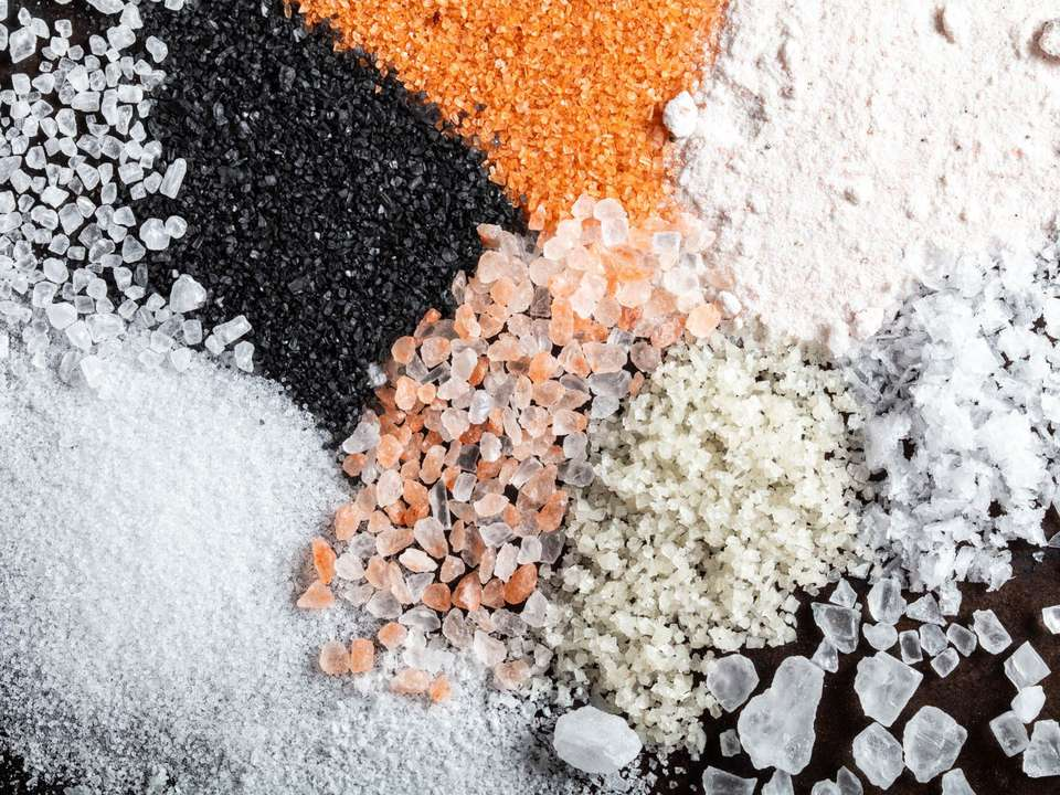 Close up of a variety of different types of salt
