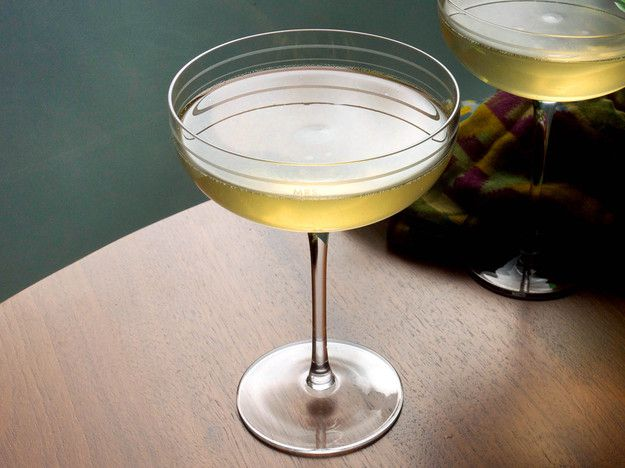 Chamomile and Tangerine Sparkling Cocktail in a coupe.