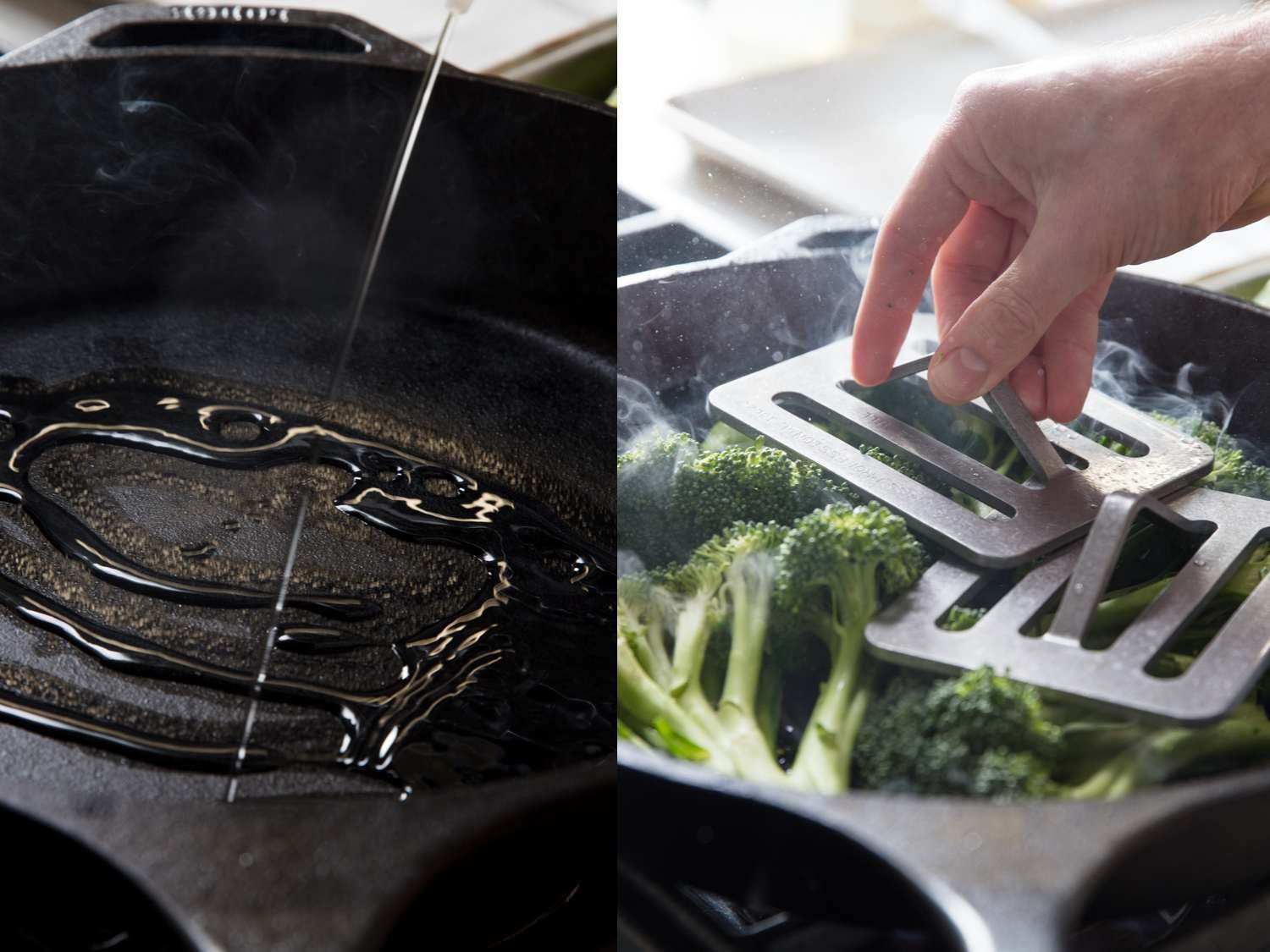 Process shots of cooking and weighing down broccoli in a cast iron skillet.