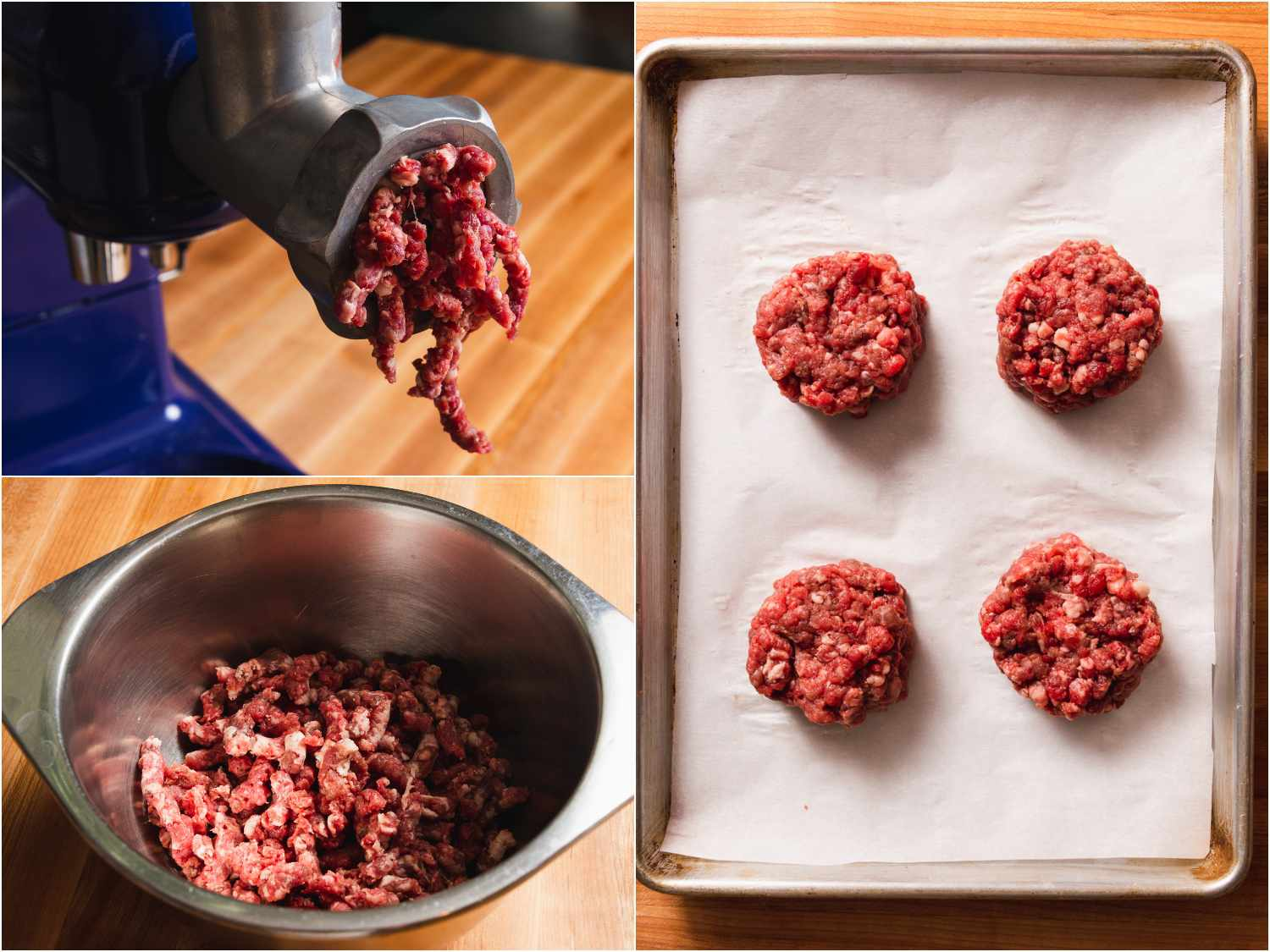 collage: grinding beef; ground beef; beef formed into patties