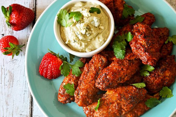 strawberry chipotle wings with blue cheese dip