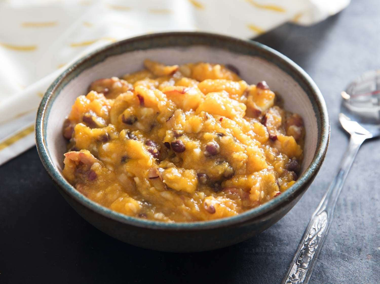 Hobak beombeok (Korean pumpkin porridge) in a serving bowl
