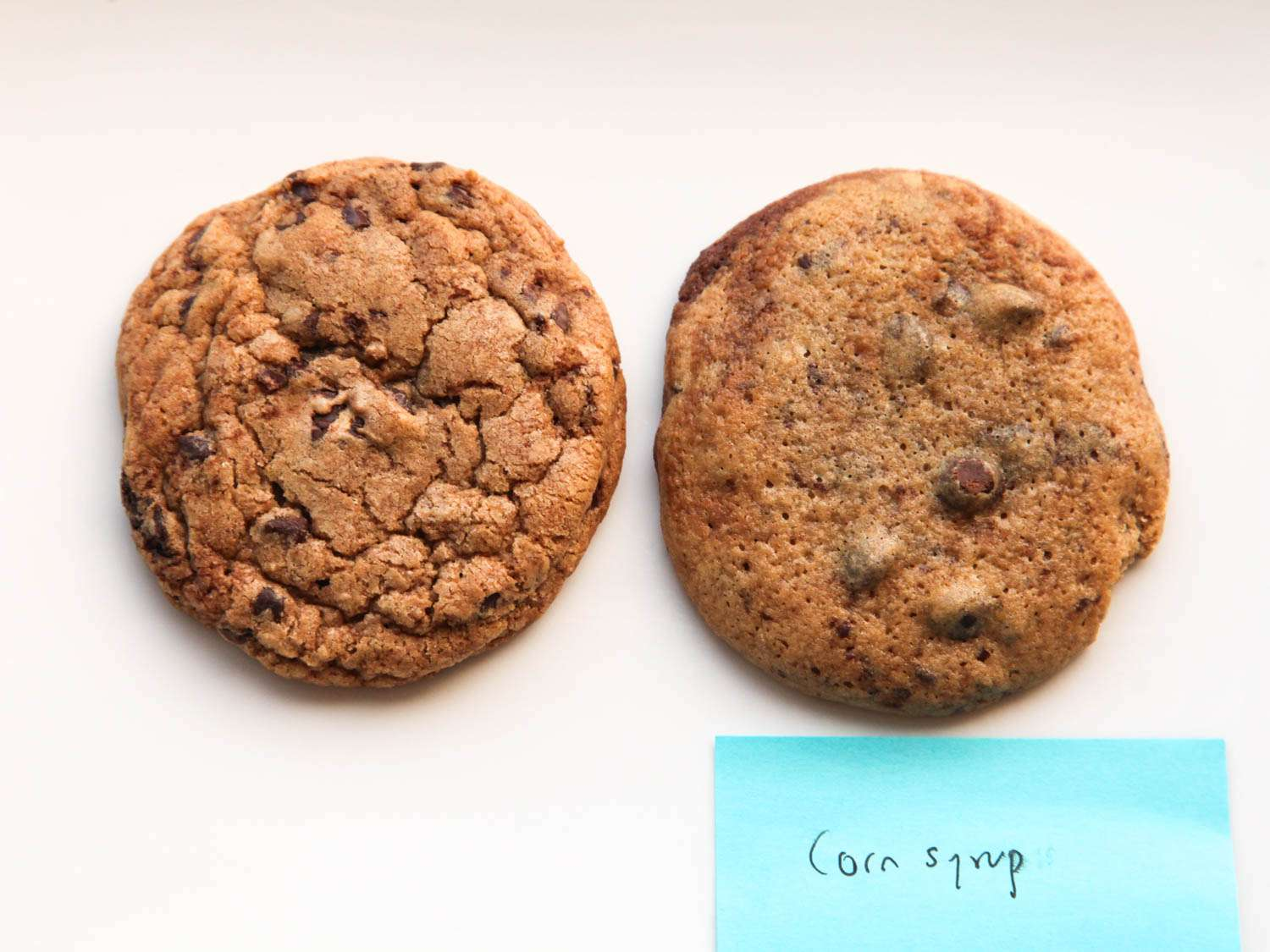 Side by side photograph showing chocolate chip cookies made with granulated and brown sugar (left) and corn syrup (right).
