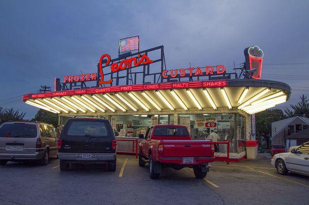 The front of Leon's Frozen Custard, a drive-up soft-serve frozen custard shop.