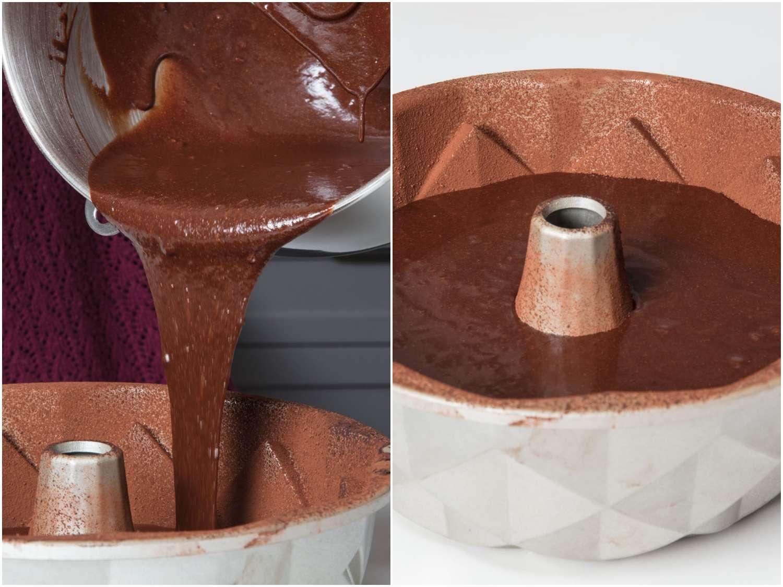 making a chocolate bundt cake