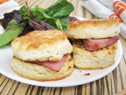 country ham biscuits with side salad