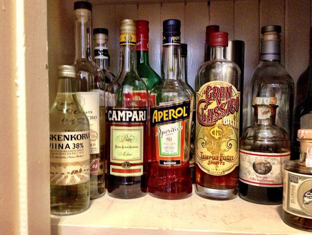 apertifs in home bar