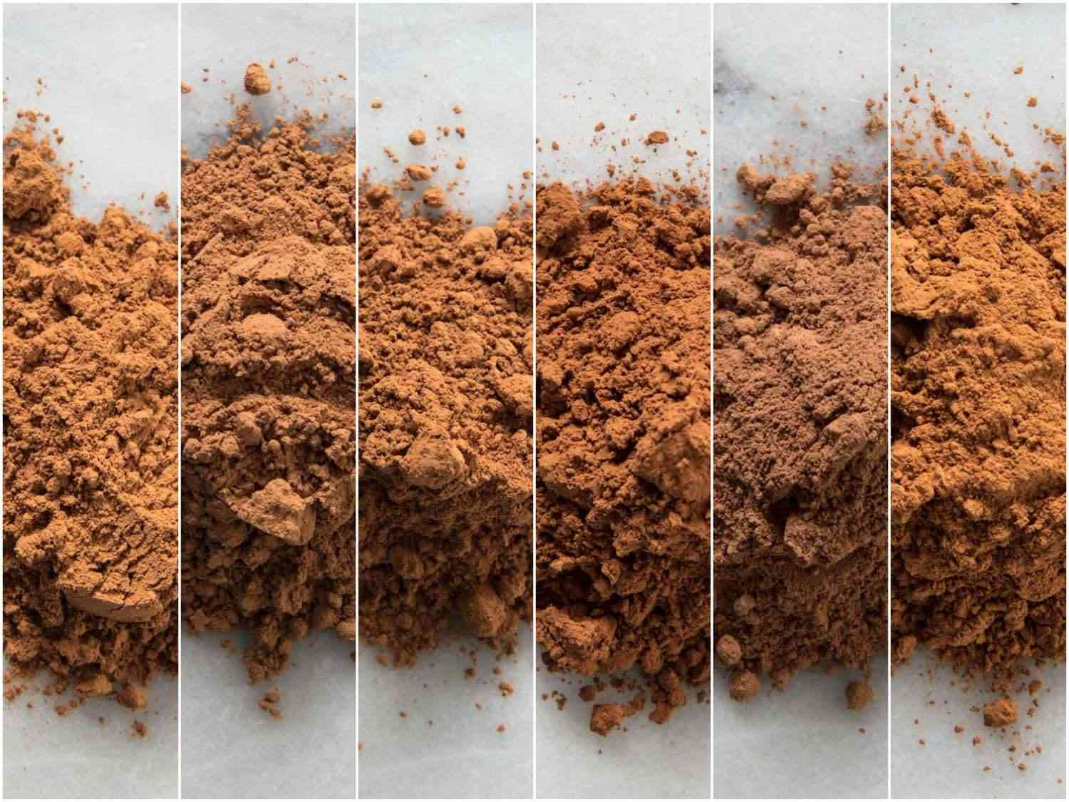 Collage of five natural cocoa powders and one low-fat powder for comparison