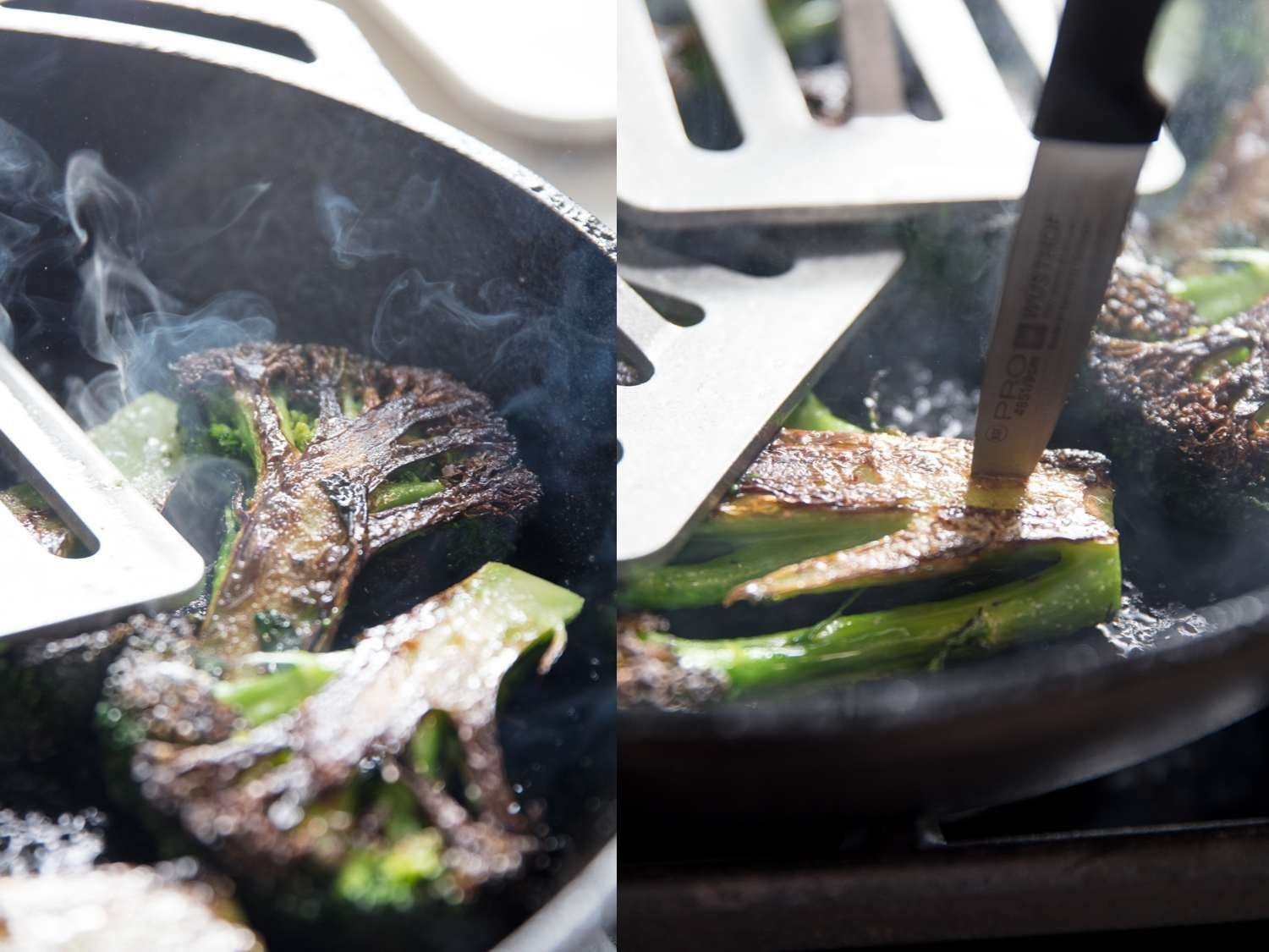 Testing broccoli for doneness with a paring knife.