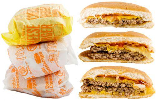 The McDonald's cheeseburger, double cheeseburger, and McDouble.