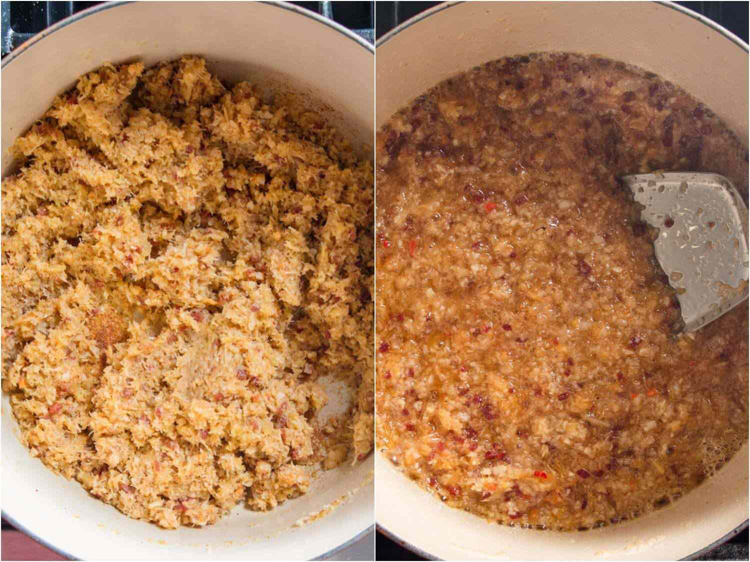 Comparison of two versions of XO sauce cooking in a Dutch oven.