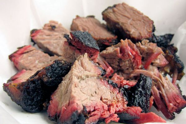 A plate of burnt ends of barbecued brisket, one of the prized bites among barbecue circles.