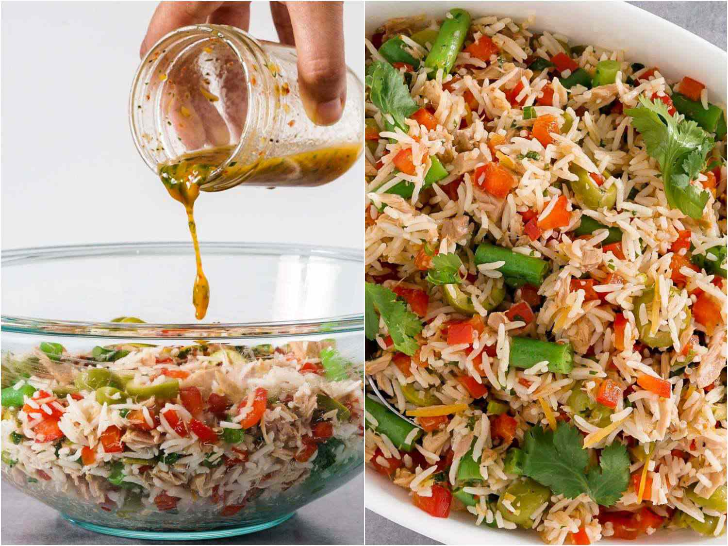 collage: adding dressing to the rice salad; close up of North African rice salad