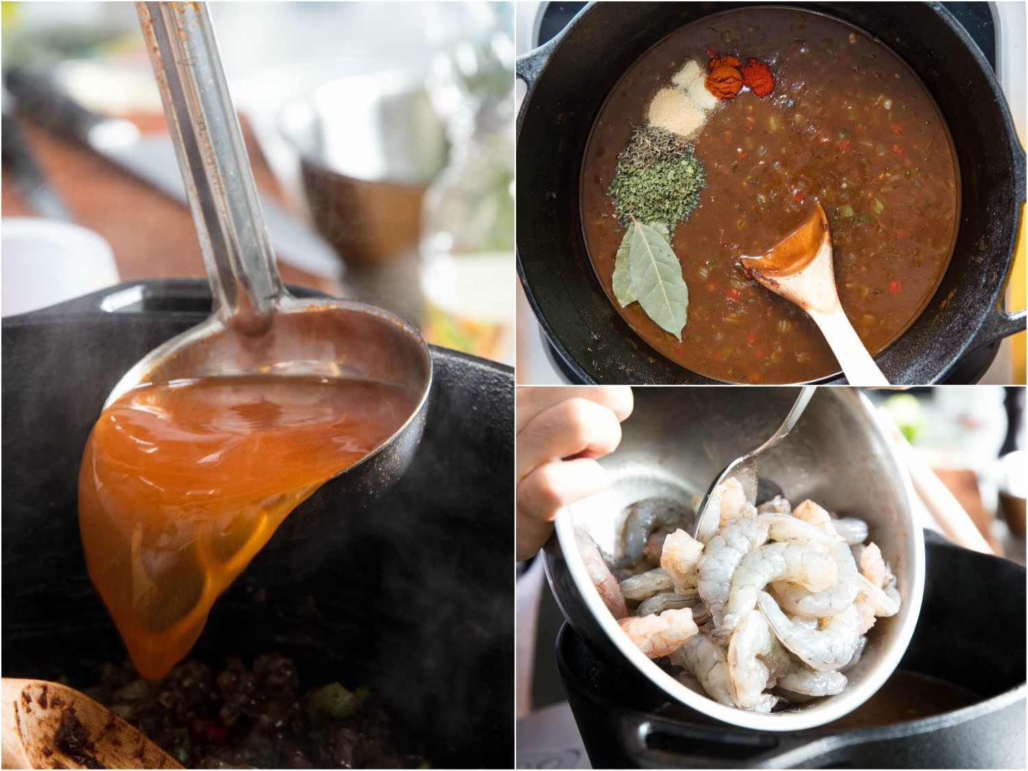 Collage: Adding shrimp stock to the pot, adding spices and seasonings to the sauce, stirring in the shrimp