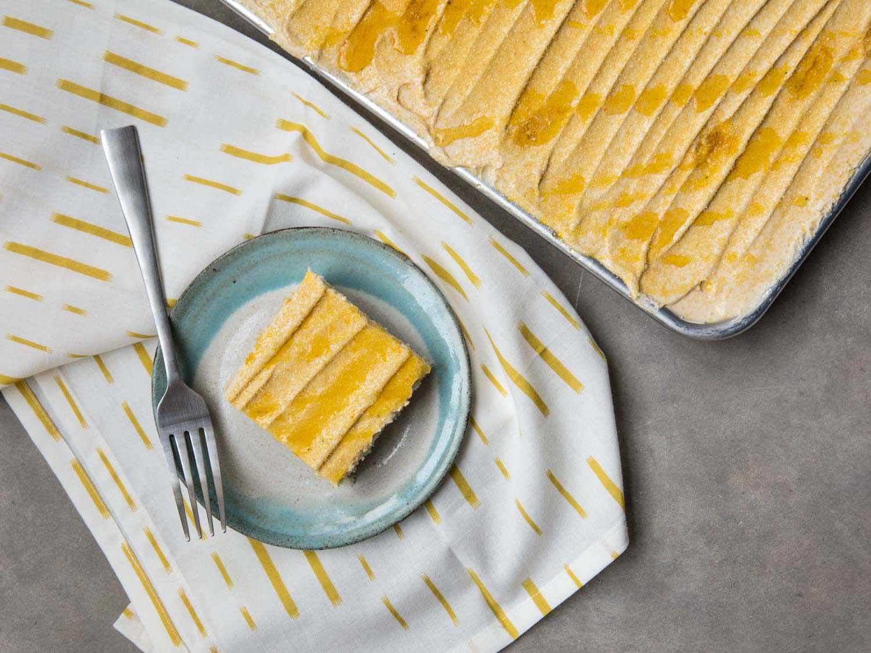 sheet cake with honey buttercream