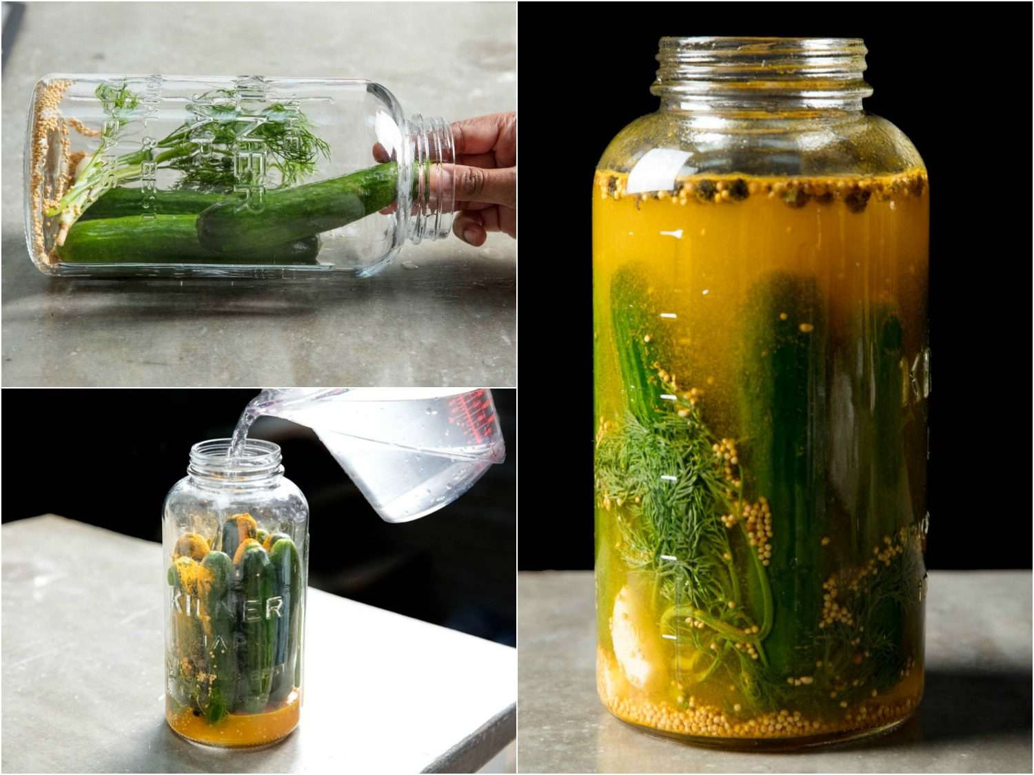 Collage of three photos depicting how to pack a jar of pickles. Counterclockwise from top left: Pickle jar with aromatic vegetables and spices and two cucumbers resting on its side on a counter, with a hand placing another pickle in the jar; pickle jar packed with cucumbers standing upright on the container, with brine being poured into the jar from measuring cup; pickle jar filled with brine, cucumbers, spices, and vegetables viewed from side.