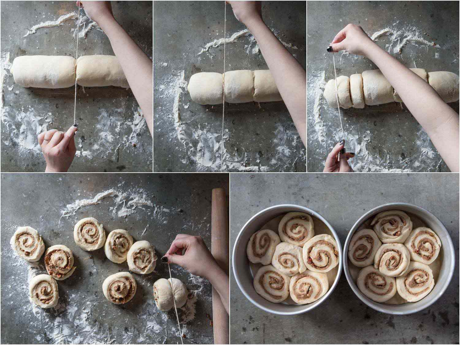 Photo collage showing the process of cutting cinnamon rolls with twine then laying them in baking pans.