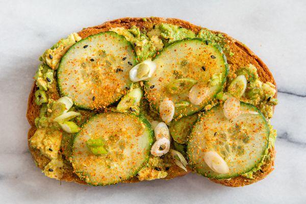 avocado toast with cucumber
