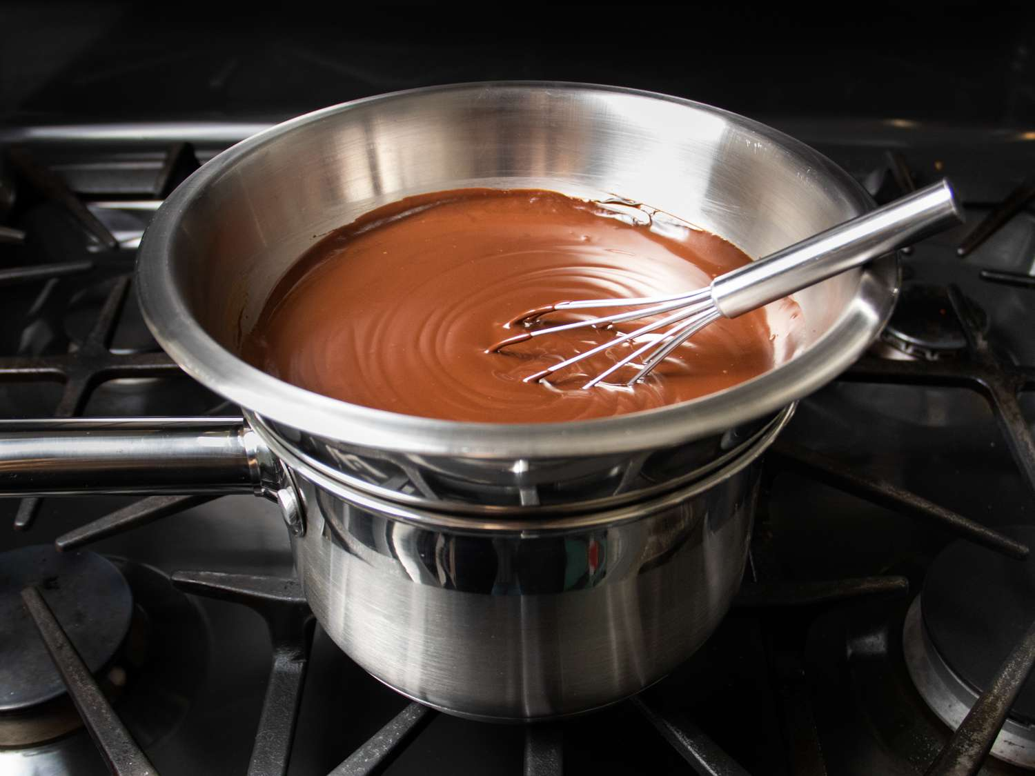 keeping chocolate sauce warm on a double broiler