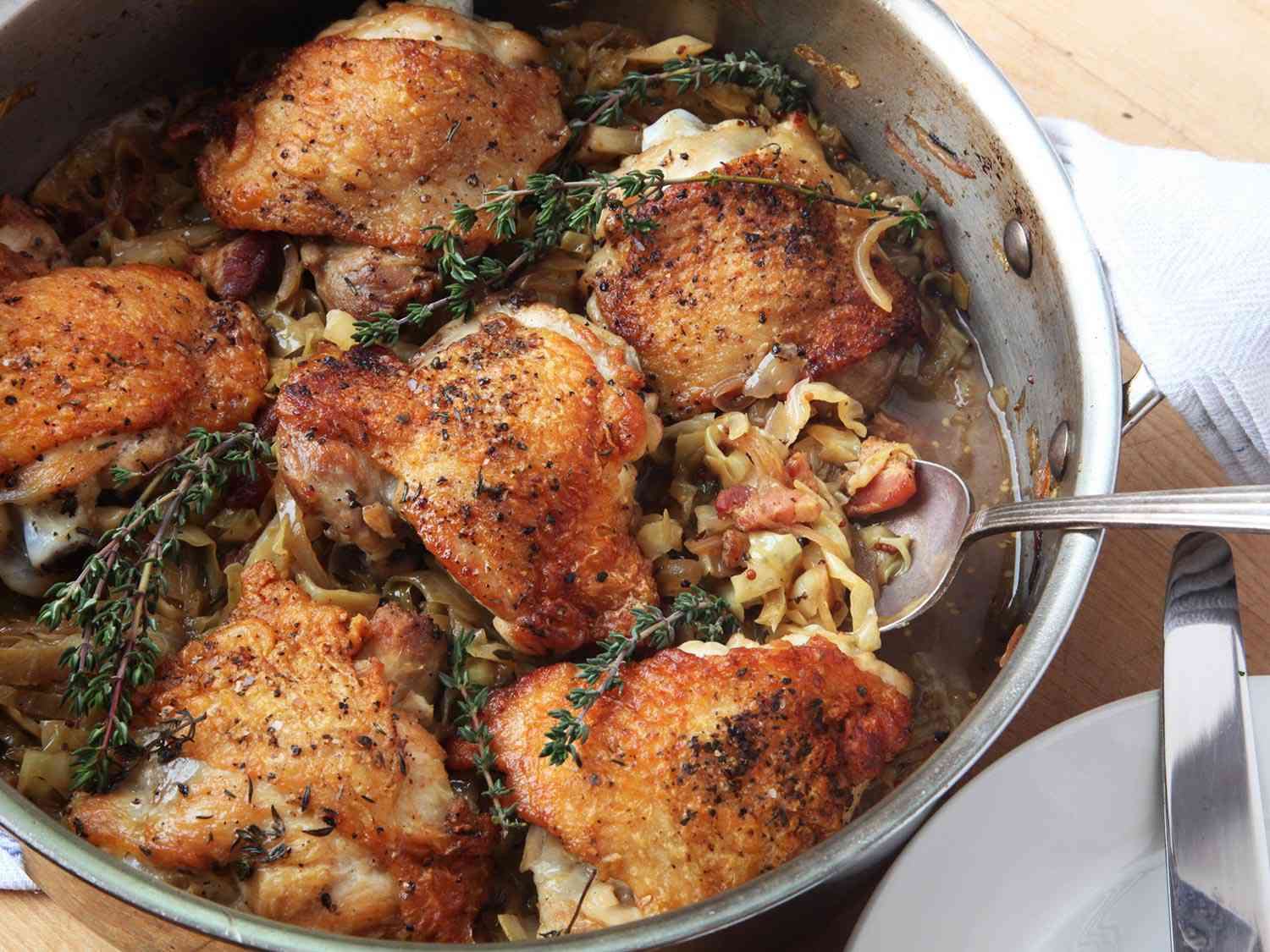 braised thighs w bacon
