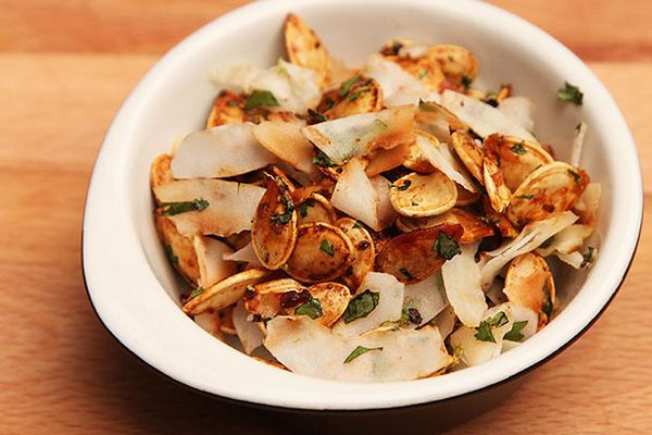 Pumpkin Seeds With Lemongrass, Chili, and Toasted Coconut