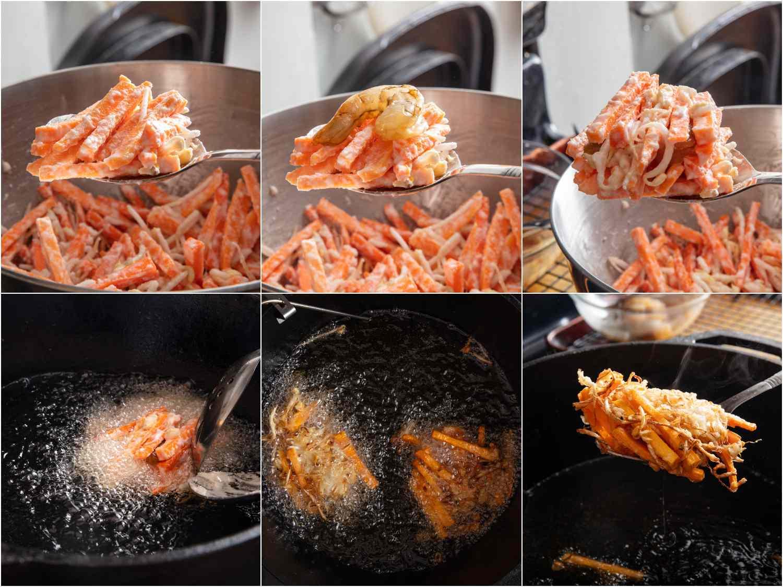collage: assembling ukoy; frying ukoy