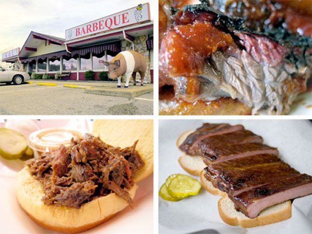 A collage of a barbecue restaurant and different types of barbecue.