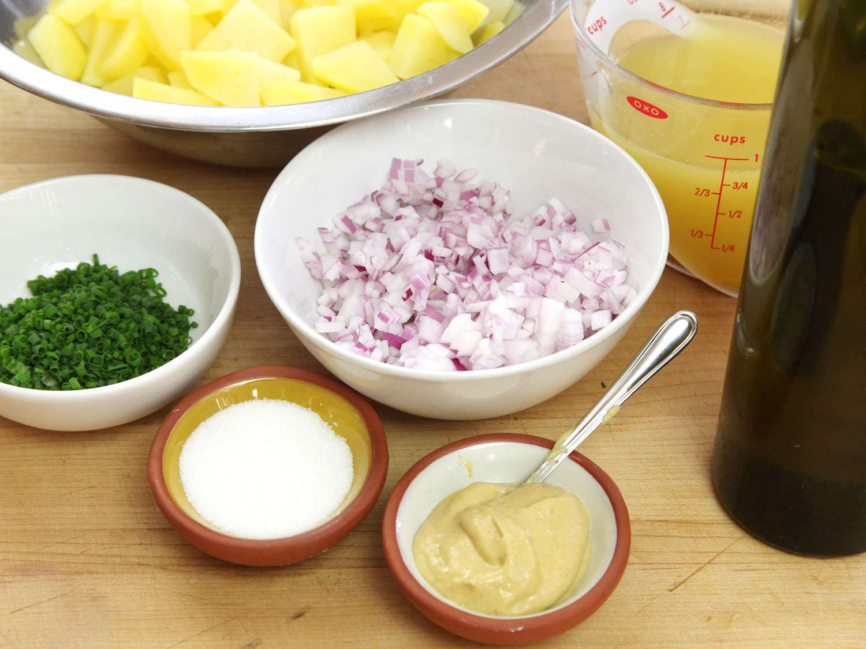 Components for assembling Austrian potato salad