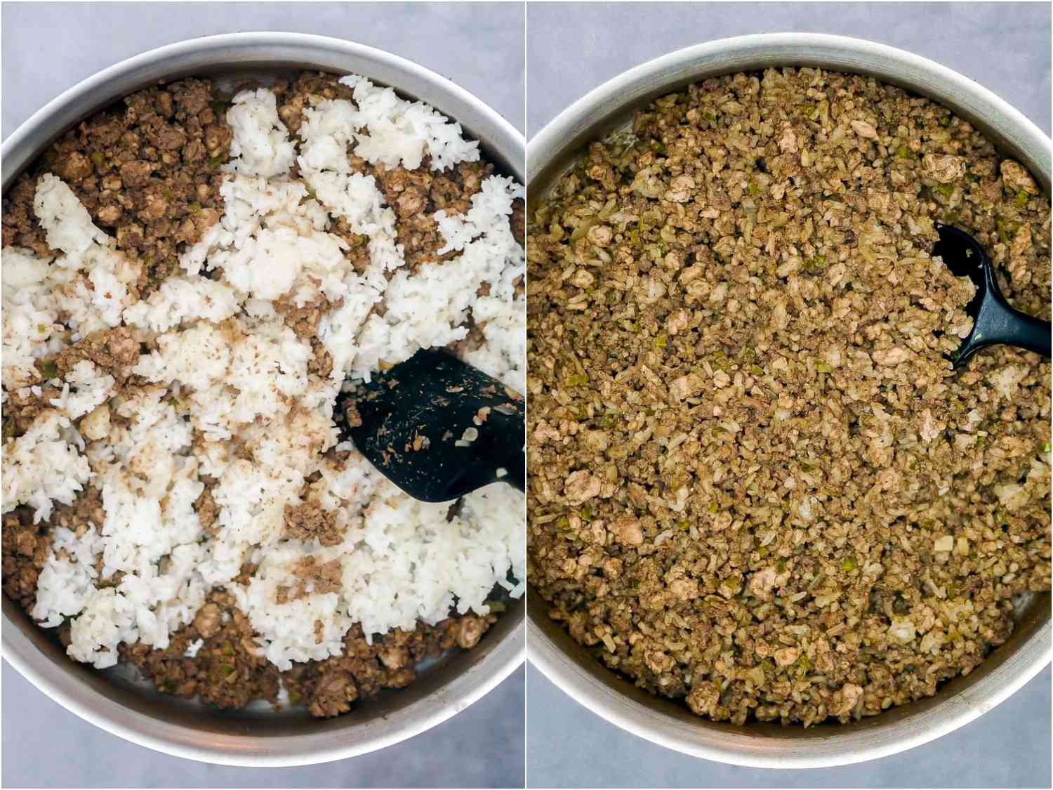 cooked rice added to skillet and mixed in, turning an even brown color