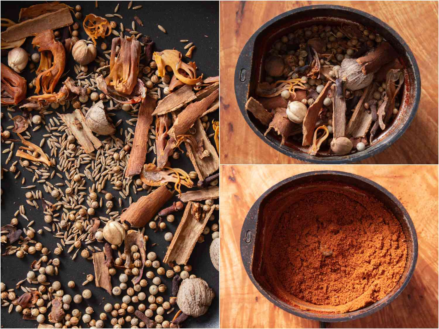 collage: toasting spices and blending them