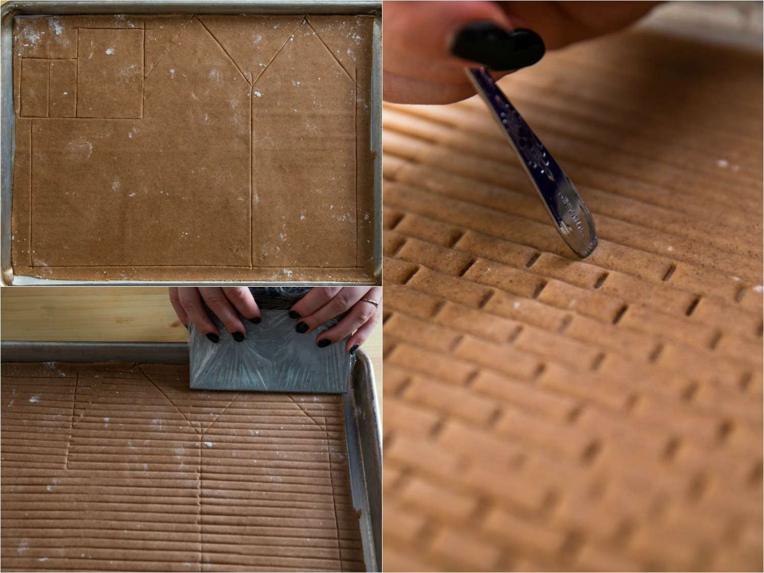 Collage of making walls for gingerbread house: wall cutouts in a tray of gingerbread, using a bench scraper to make rows of bricks, using the end of a spoon handle to create individual bricks