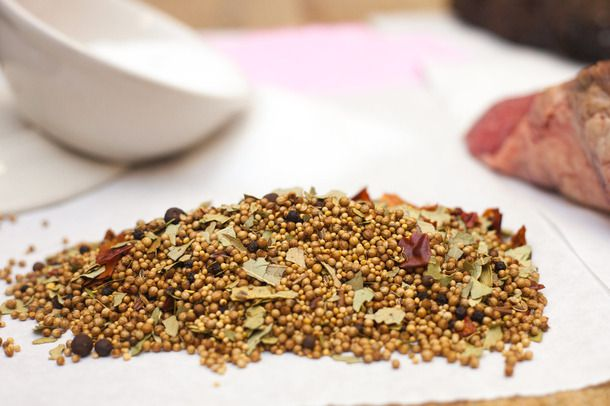 Curing spices on a white paper towel.