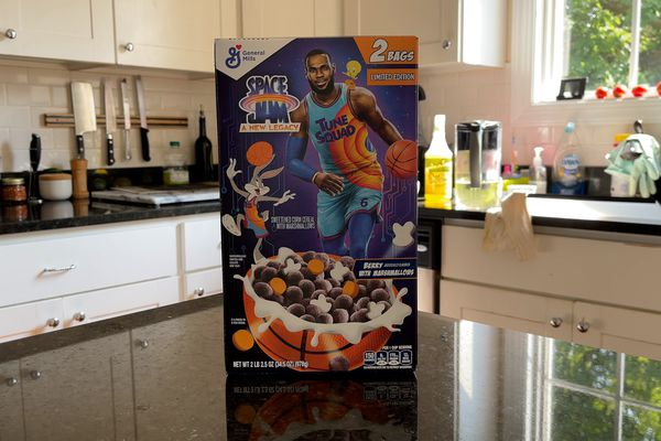 Box of Space Jam: A New Legacy-themed Cereal on a kitchen counter