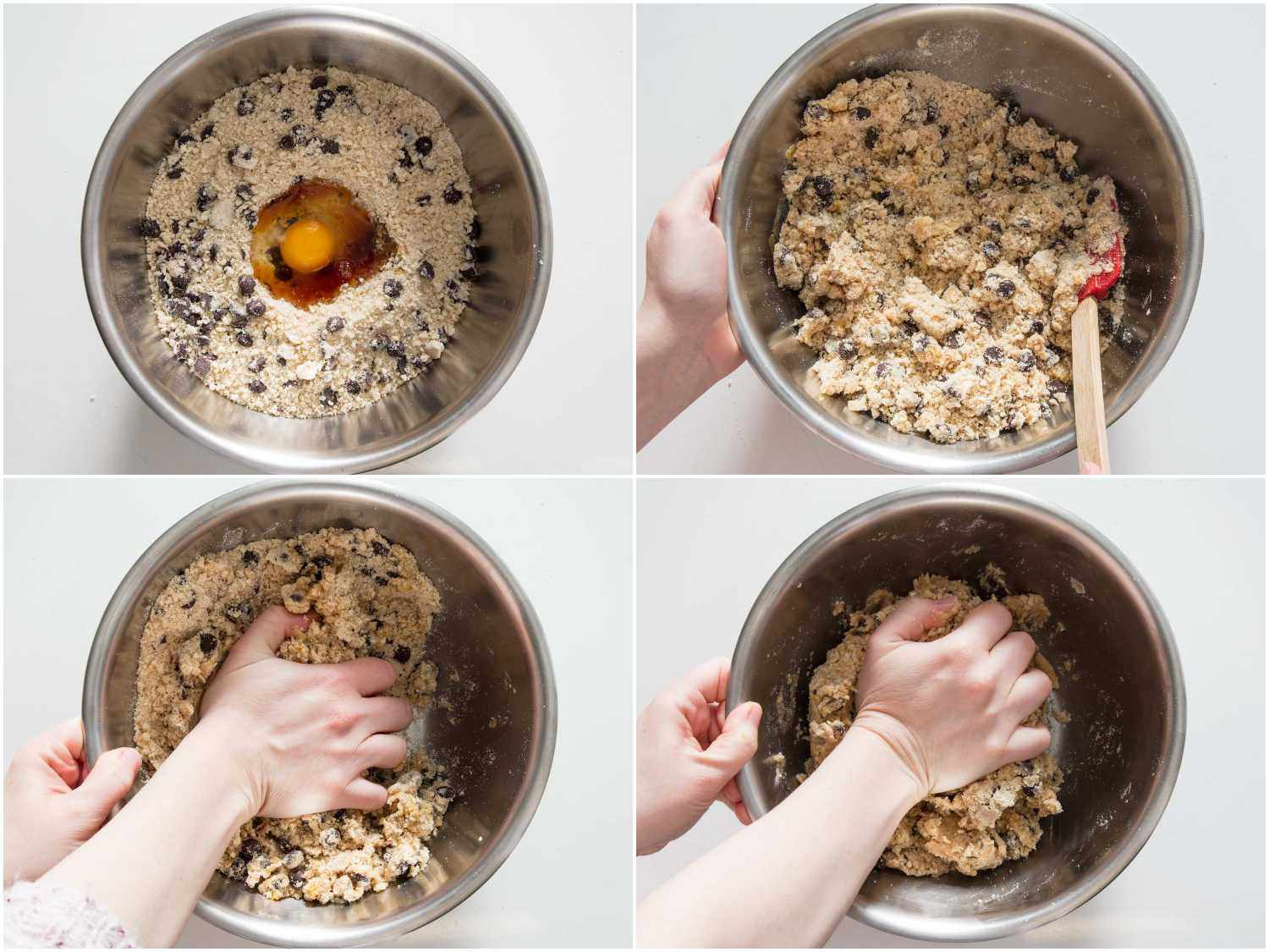 incorporating the egg and vanilla into the dough