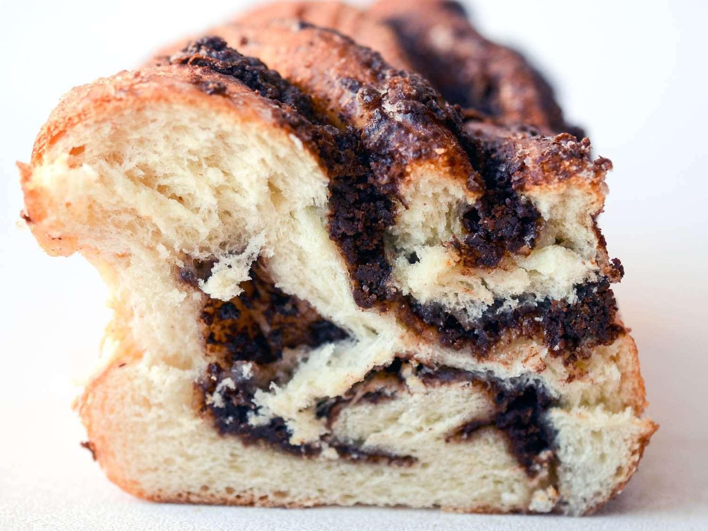 Cross section of chocolate donut-babka.