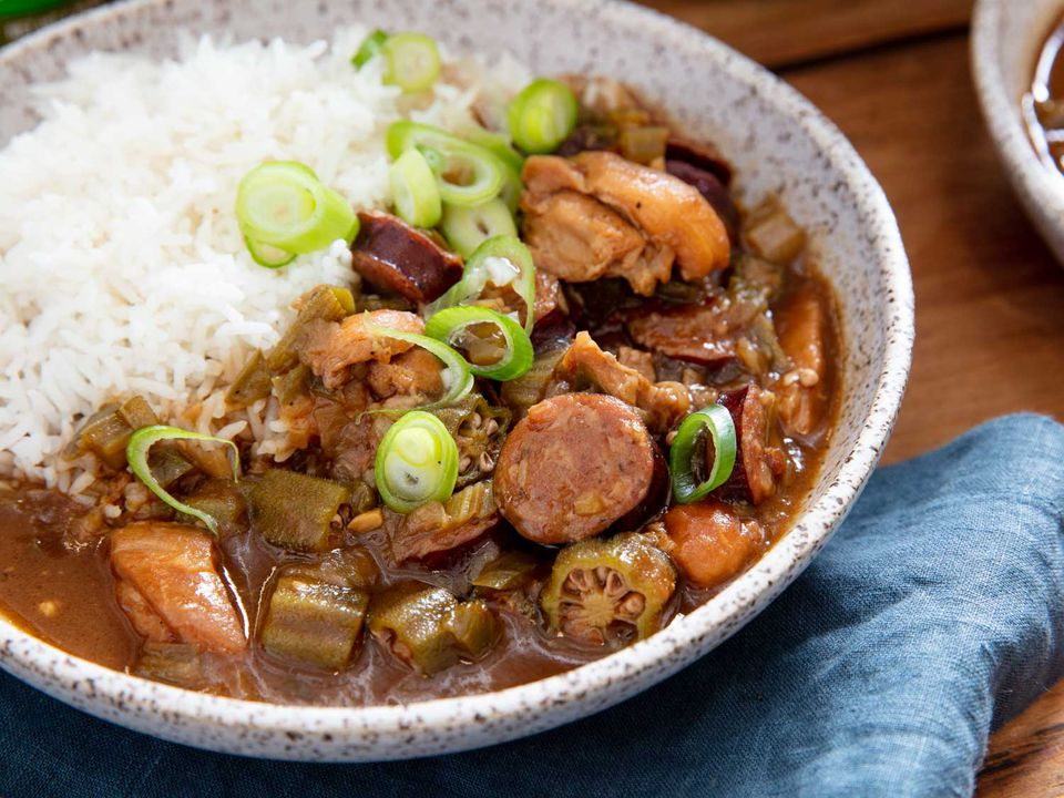 Bowl of Cajun gumbo with chicken, okra, and andouille sausage. Served with rice.