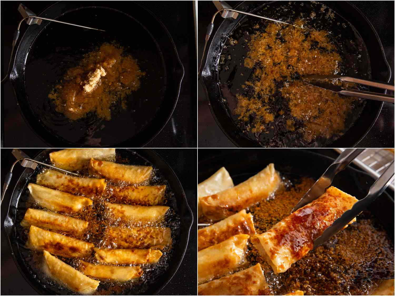adding brown sugar to oil; sugar beginning to brown and melt; turon added back into pan, sugar beginning to stick to turon; tongs lifting a glazed turon out of the oil