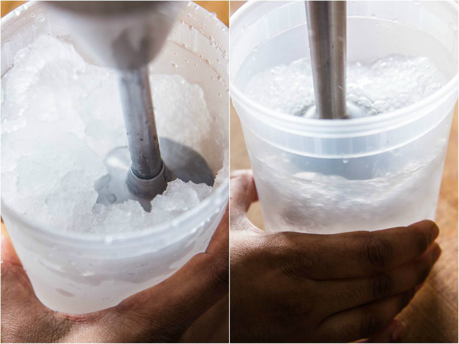 Collage of photos of using an immersion blender to crush ice in a plastic container