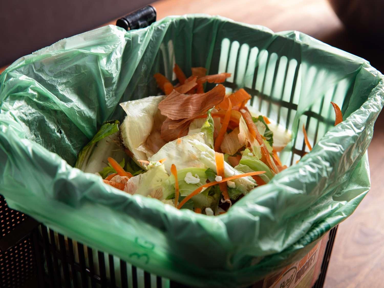 Scraps in a compost bin