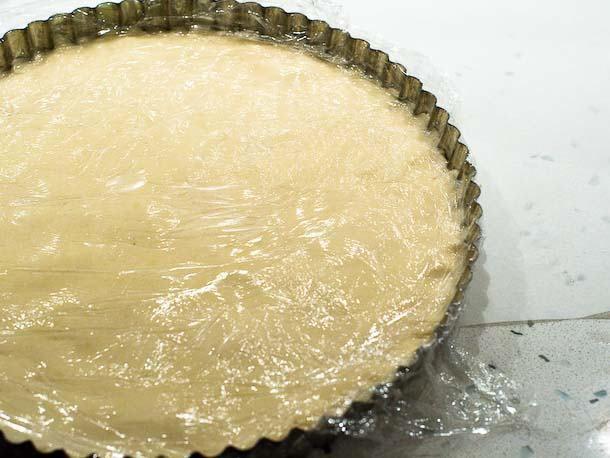 covered shortbread dough in tart pan
